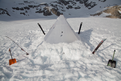 Our lightweight hyper light shelter with DPS, BD skis